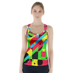 Colorful geometrical abstraction Racer Back Sports Top