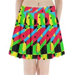 Colorful Geometrical Abstraction Pleated Mini Mesh Skirt