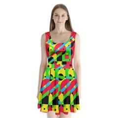 Colorful Geometrical Abstraction Split Back Mini Dress