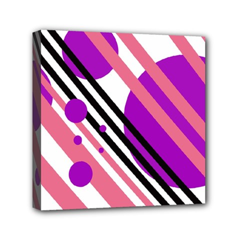 Purple lines and circles Mini Canvas 6  x 6