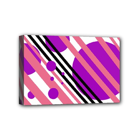 Purple lines and circles Mini Canvas 6  x 4