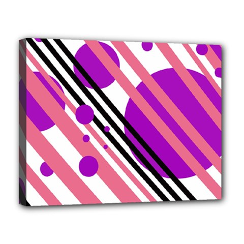 Purple lines and circles Canvas 14  x 11