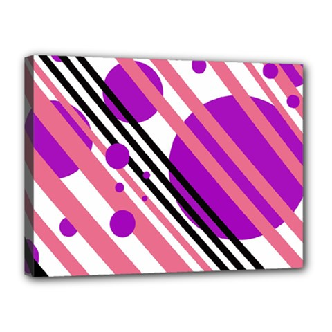 Purple lines and circles Canvas 16  x 12