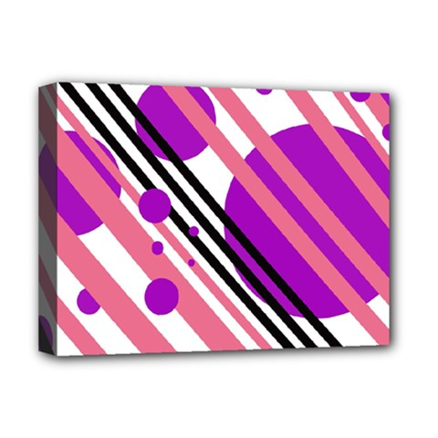 Purple lines and circles Deluxe Canvas 16  x 12