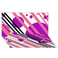 Purple lines and circles Twin Heart Bottom 3D Greeting Card (8x4)
