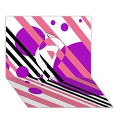 Purple lines and circles Ribbon 3D Greeting Card (7x5)