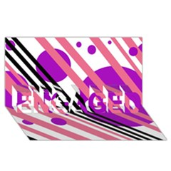 Purple lines and circles ENGAGED 3D Greeting Card (8x4)