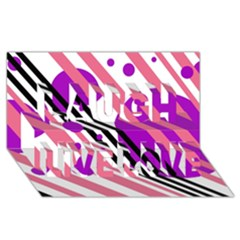 Purple lines and circles Laugh Live Love 3D Greeting Card (8x4)