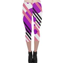 Purple lines and circles Capri Leggings