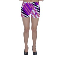 Purple lines and circles Skinny Shorts