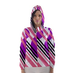 Purple lines and circles Hooded Wind Breaker (Women)