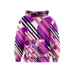 Purple lines and circles Kids  Pullover Hoodie