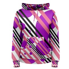 Purple lines and circles Women s Pullover Hoodie