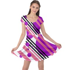 Purple lines and circles Cap Sleeve Dresses