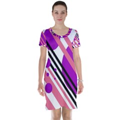 Purple lines and circles Short Sleeve Nightdress