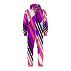 Purple lines and circles Hooded Jumpsuit (Kids)
