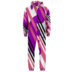 Purple lines and circles Hooded Jumpsuit (Men)