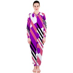 Purple lines and circles OnePiece Jumpsuit (Ladies)