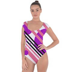 Purple lines and circles Short Sleeve Leotard