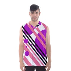Purple lines and circles Men s Basketball Tank Top