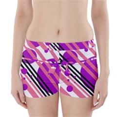 Purple lines and circles Boyleg Bikini Wrap Bottoms