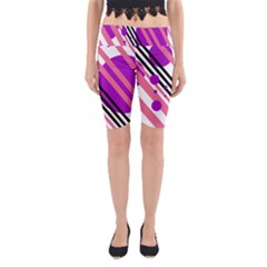 Purple lines and circles Yoga Cropped Leggings