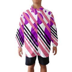 Purple Lines And Circles Wind Breaker (kids)