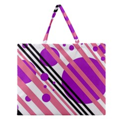 Purple lines and circles Zipper Large Tote Bag