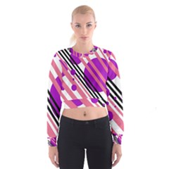 Purple lines and circles Women s Cropped Sweatshirt