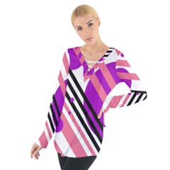 Purple Lines And Circles Women s Tie Up Tee