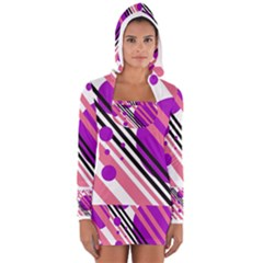Purple lines and circles Women s Long Sleeve Hooded T-shirt