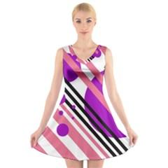 Purple lines and circles V-Neck Sleeveless Skater Dress