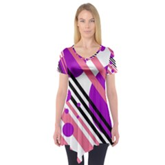 Purple lines and circles Short Sleeve Tunic