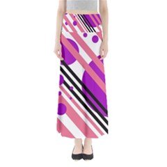 Purple lines and circles Maxi Skirts