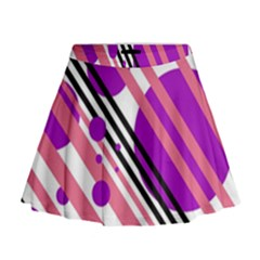 Purple lines and circles Mini Flare Skirt