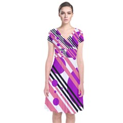 Purple lines and circles Short Sleeve Front Wrap Dress