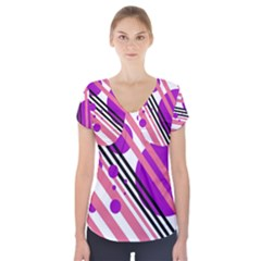 Purple lines and circles Short Sleeve Front Detail Top