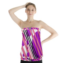 Purple lines and circles Strapless Top