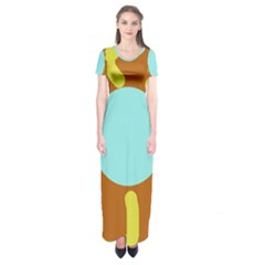 Abstract sun Short Sleeve Maxi Dress