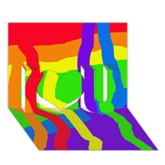 Rainbow abstraction I Love You 3D Greeting Card (7x5)