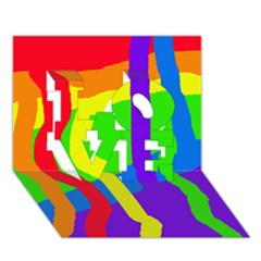 Rainbow abstraction LOVE 3D Greeting Card (7x5)