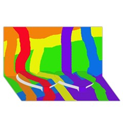Rainbow abstraction Twin Heart Bottom 3D Greeting Card (8x4)
