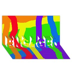 Rainbow Abstraction Engaged 3d Greeting Card (8x4)