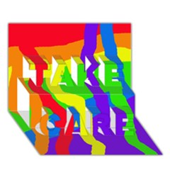 Rainbow Abstraction Take Care 3d Greeting Card (7x5)