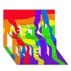 Rainbow abstraction Get Well 3D Greeting Card (7x5)