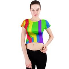 Rainbow abstraction Crew Neck Crop Top