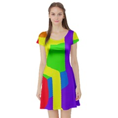 Rainbow abstraction Short Sleeve Skater Dress