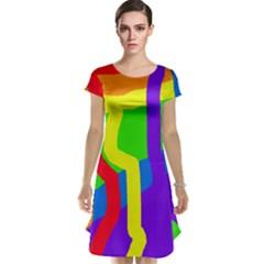 Rainbow abstraction Cap Sleeve Nightdress