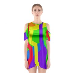 Rainbow abstraction Cutout Shoulder Dress