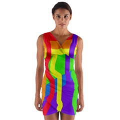 Rainbow abstraction Wrap Front Bodycon Dress